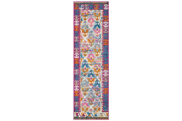 """Accessory Passion Ivory 2'2"""" x 7'6"""" Runner, Ivory/Fuchsia, large"""