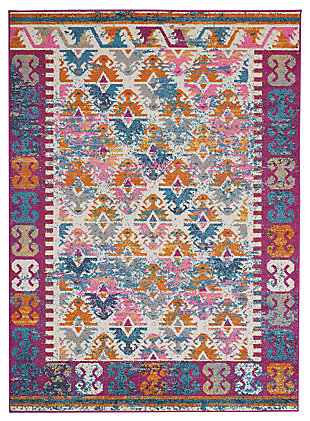 "Accessory Passion Ivory 3'9"" x 5'9"" Area Rug, Ivory/Fuchsia, large"