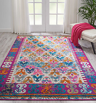 "Accessory Passion Ivory 5'3"" x 7'3"" Area Rug, Ivory/Fuchsia, large"