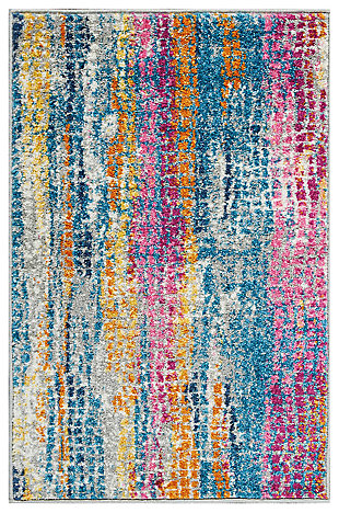 "Accessory Passion Grey/Multi 1'10"" x 2'10"" Accent Rug, Teal/Ivory, large"