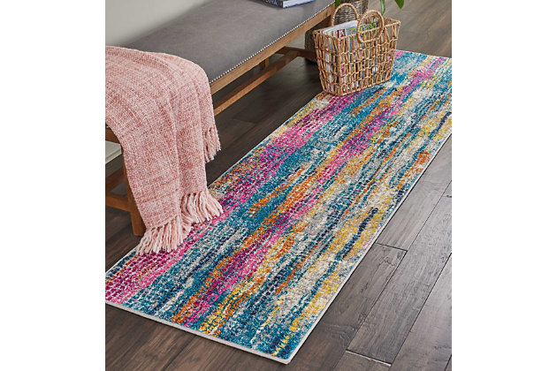 "Accessory Passion Grey/Multi 2'2"" x 7'6"" Runner, Teal/Ivory, large"