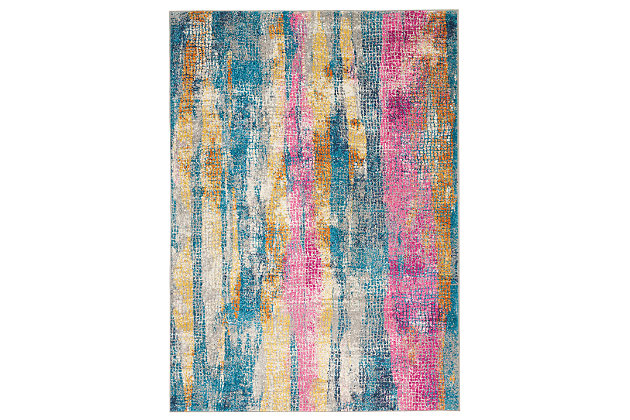 "Accessory Passion Grey/Multi 3'9"" x 5'9"" Area Rug, Teal/Ivory, large"