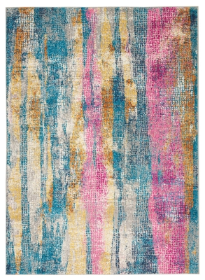 """Accessory Passion Grey/multi 5'3"""" X 7'3"""" Area Rug, Teal/Ivory, large"""