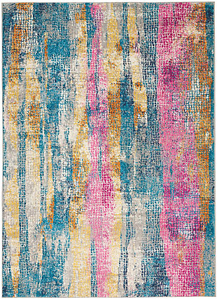 "Accessory Passion Grey/Multi 5'3"" x 7'3"" Area Rug, Teal/Ivory, rollover"