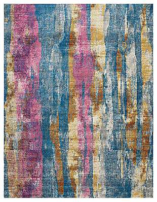 "Accessory Passion Grey/Multi 6'7"" x 9'6"" Area Rug, Teal/Ivory, large"