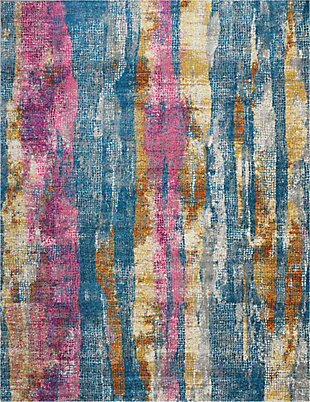 "Accessory Passion Grey/Multi 6'7"" x 9'6"" Area Rug, Teal/Ivory, rollover"