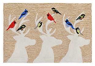 Decorative Liora Manne Whimsy Holiday Friends Indoor/Outdoor Rug, Natural, large