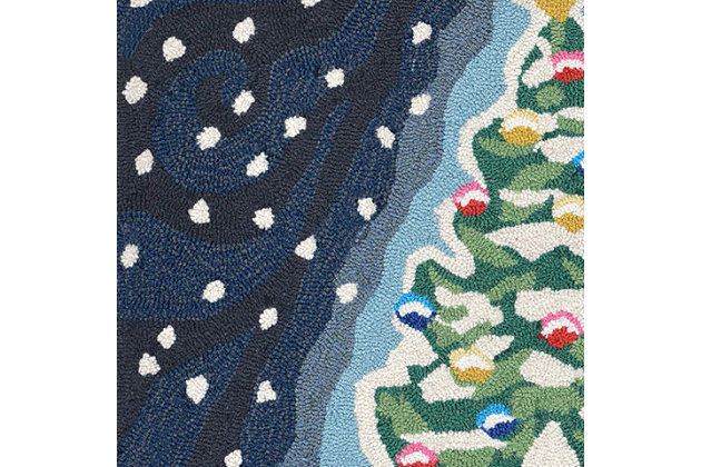 "Decorative Liora Manne Whimsy Holiday Tree Indoor/Outdoor Rug 20"" x 30"", Blue, large"