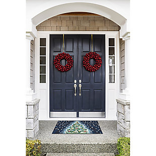 """Decorative Liora Manne Whimsy Holiday Tree Indoor/Outdoor Rug 20"""" x 30"""", Blue, rollover"""