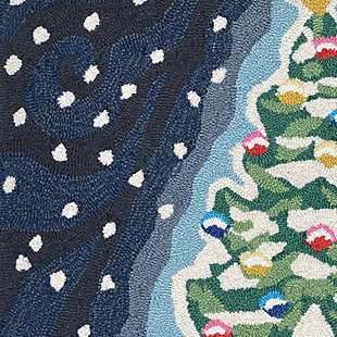 """Decorative Liora Manne Whimsy Holiday Tree Indoor/Outdoor Rug 20"""" x 30"""", Blue, large"""