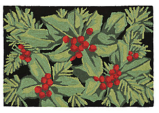 "Decorative Liora Manne Winter Foliage Indoor/Outdoor Rug 20"" x 30"", Black/Gray, large"