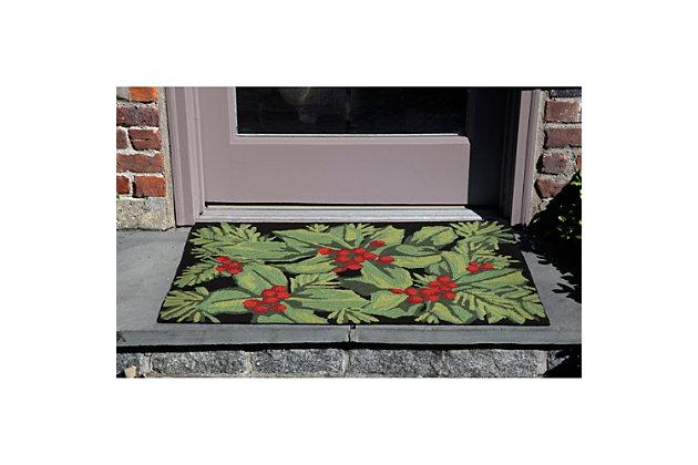 "Decorative Liora Manne Winter Foliage Indoor/Outdoor Rug 20"" x 30"", Black/Gray, large"