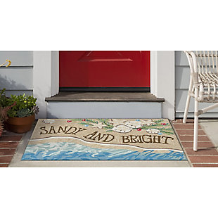 Decorative Liora Manne Whimsy Xmas on the Beach Indoor/Outdoor Rug, Cream/Ivory, rollover