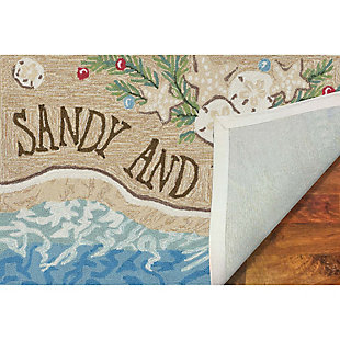 Decorative Liora Manne Whimsy Xmas on the Beach Indoor/Outdoor Rug, Cream/Ivory, large