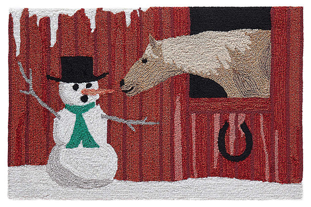 """Decorative Liora Manne Country Winter Indoor/Outdoor Rug 20"""" x 30"""", Red, large"""