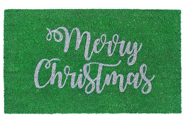 "Decorative Liora Manne Terrene Jolly Greetings Outdoor Mat 18"" x 30"", Green, large"