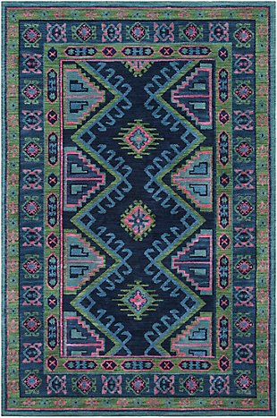 "Kids Area Rug 5' x 7'6"", Ink/Grass Green/Orange, large"