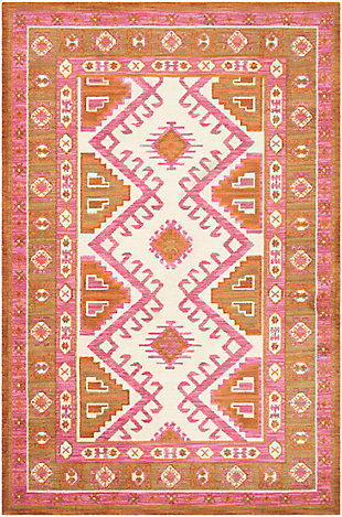 Kids Area Rug 8'11 x 12', Camel/Pink/Burnt Orange, large
