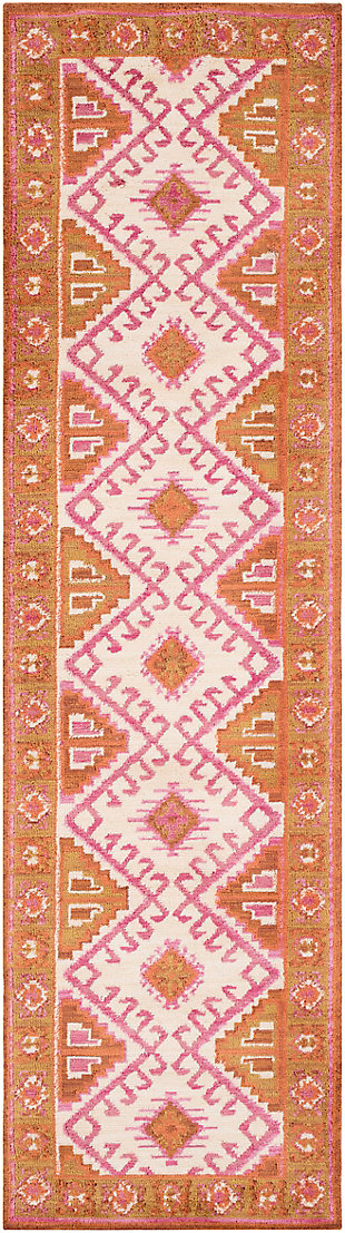 Kids Area Rug 2' x 3', Camel/Pink/Burnt Orange, rollover