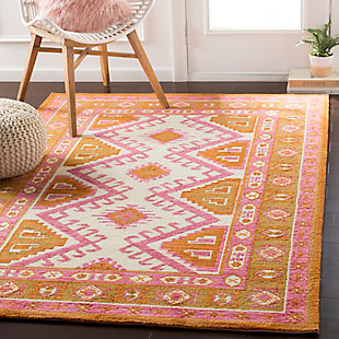 Kids Area Rug 8'11 x 12', Camel/Pink/Burnt Orange, rollover