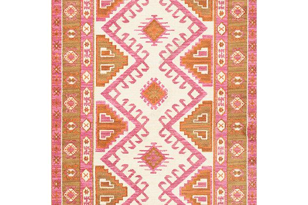 Kids Area Rug 4' x 6', Camel/Pink/Burnt Orange, large