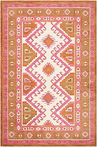 Kids Area Rug 5' x 7'6, Camel/Pink/Burnt Orange, large