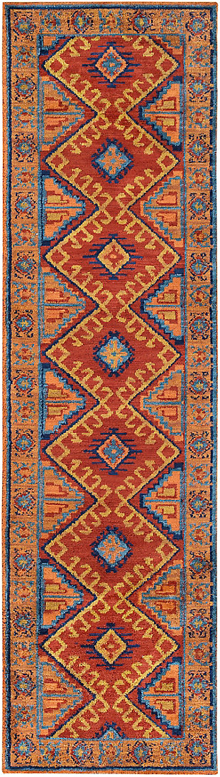 Kids Area Rug 2'3 x 8', Orange/Navy/Terracotta, rollover