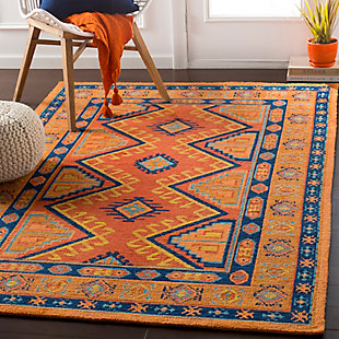 Kids Area Rug 5' x 7'6, Orange/Navy/Terracotta, rollover