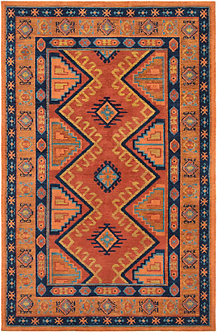 Kids Area Rug 7'6 x 9'6, Orange/Navy/Terracotta, large