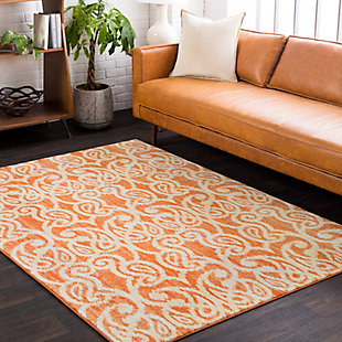 Kids Area Rug 5'2 x 7'6, Orange/Yellow/White, rollover