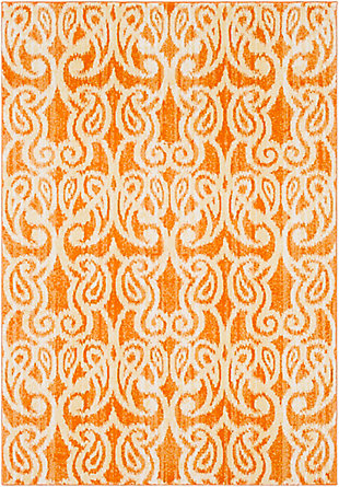 Kids Area Rug 5'2 x 7'6, Orange/Yellow/White, large