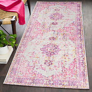 "Kids Area Rug 2'11"" x 7'10"", Lavender/Pink/Ash Gray, rollover"