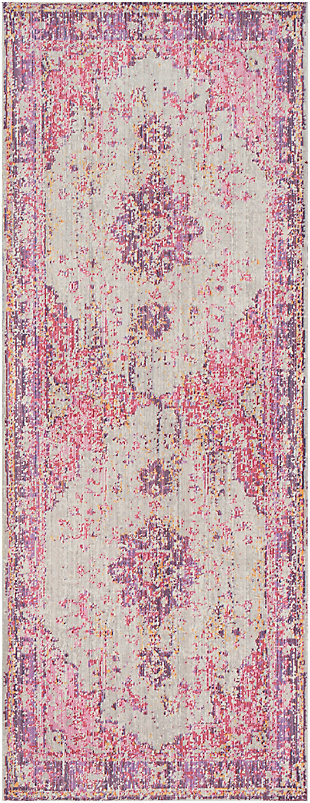 Kids Area Rug 2'11 x 7'10, Lavender/Pink/Ash Gray, large