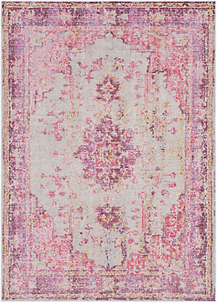 Kids Area Rug 5'3 x 7'1, Lavender/Pink/Ash Gray, large