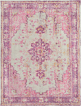Kids Area Rug 7'10 x 10'3, Lavender/Pink/Ash Gray, large