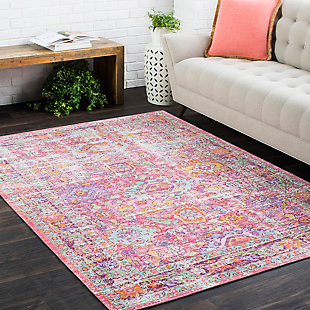 "Kids Area Rug 5'3"" x 7'1"", Pink/Lavender/White, rollover"