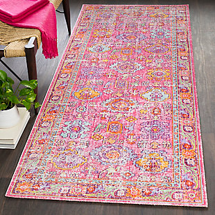 "Kids Area Rug 2'11"" x 7'10"", Pink/Lavender/White, rollover"
