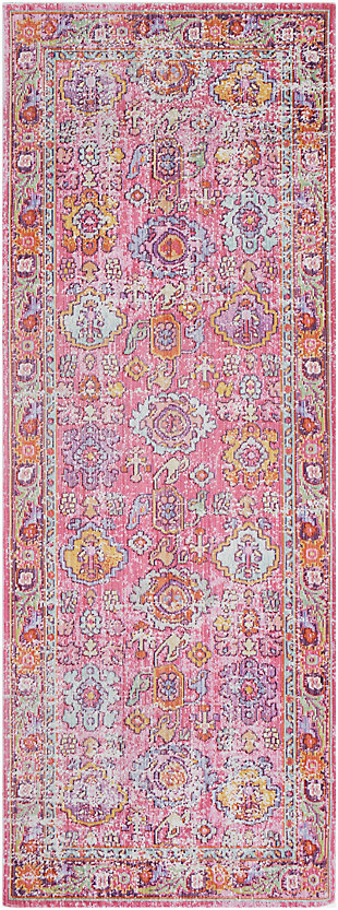 "Kids Area Rug 2'11"" x 7'10"", Pink/Lavender/White, large"