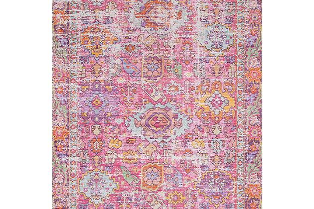 "Kids Area Rug 5'3"" x 7'1"", Pink/Lavender/White, large"