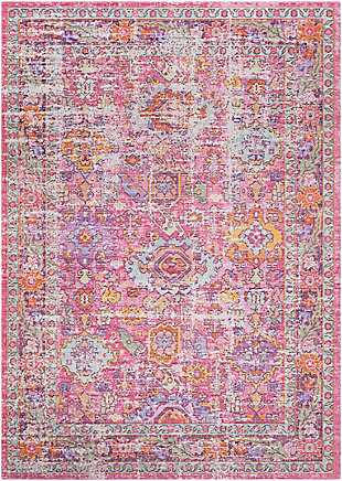 Kids Area Rug 5'3 x 7'1, Pink/Lavender/White, large