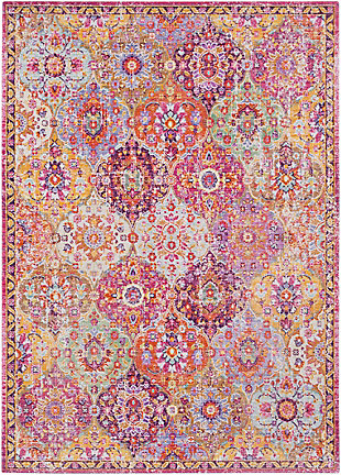 Kids Area Rug 5'3 x 7'1, Eggplant/Garnet/Sea Foam, large