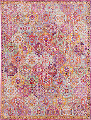 Kids Area Rug 7'10 x 10'3, Eggplant/Garnet/Sea Foam, large