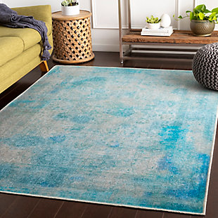 Kids Area Rug 2' x 2'11, Teal/Sky Blue/Ash Gray, rollover