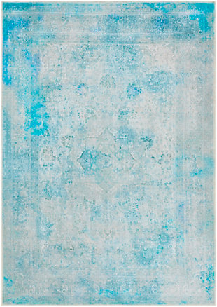 Kids Area Rug 5'3 x 7'3, Teal/Sky Blue/Ash Gray, large
