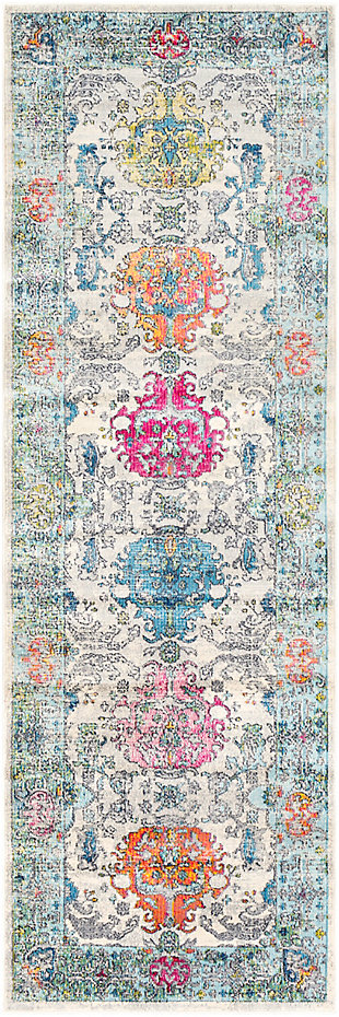 Kids Area Rug 2'7 x 7'6, Olive/Sky Blue/Pink, large