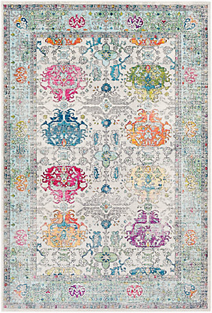 "Kids Area Rug 5'3"" x 7'6"", Olive/Sky Blue/Pink, large"