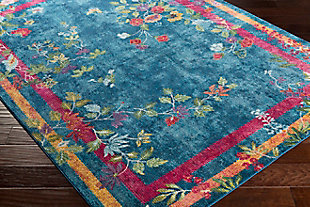 Kids Area Rug 5'3 x 7'6, Navy/Bright Pink/Yellow, large