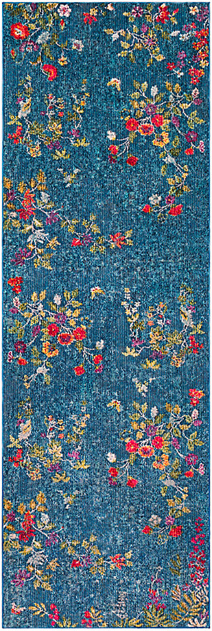 Kids Area Rug 2'7 x 7'6, Navy/Bright Pink/Yellow, large
