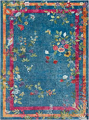 Kids Area Rug 7'10 x 10'3, Navy/Bright Pink/Yellow, large