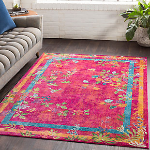 Kids Area Rug 5'3 x 7'6, Pink/Saffron/Yellow, rollover